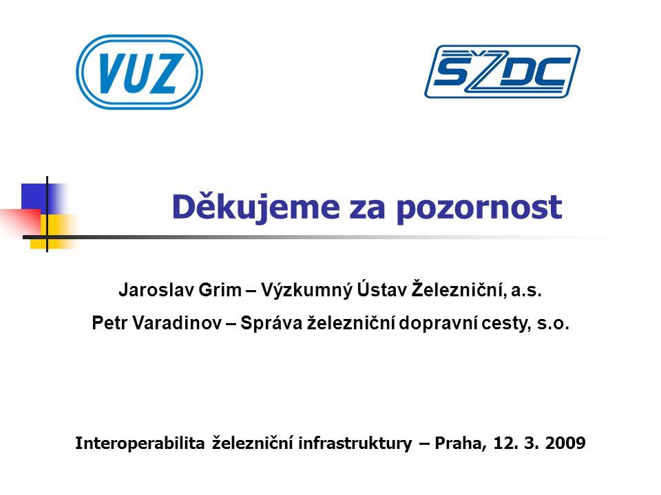 Děkujeme za pozornost Interoperabilita železniční infrastruktury – Praha, 12.