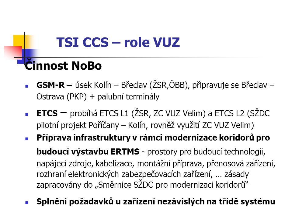 """TSI CCS – role VUZ Činnost NoBo  GSM-R – úsek Kolín – Břeclav (ŽSR,ÖBB), připravuje se Břeclav – Ostrava (PKP) + palubní terminály  ETCS – probíhá ETCS L1 (ŽSR, ZC VUZ Velim) a ETCS L2 (SŽDC pilotní projekt Poříčany – Kolín, rovněž využití ZC VUZ Velim)  Příprava infrastruktury v rámci modernizace koridorů pro budoucí výstavbu ERTMS - prostory pro budoucí technologii, napájecí zdroje, kabelizace, montážní příprava, přenosová zařízení, rozhraní elektronických zabezpečovacích zařízení, … zásady zapracovány do """"Směrnice SŽDC pro modernizaci koridorů  Splnění požadavků u zařízení nezávislých na třídě systému"""