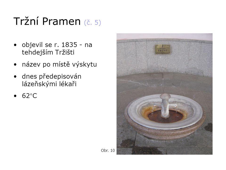 Tržní Pramen (č. 5) •objevil se r. 1835 - na tehdejším Tržišti •název po místě výskytu •dnes předepisován lázeňskými lékaři •62°C Obr. 10