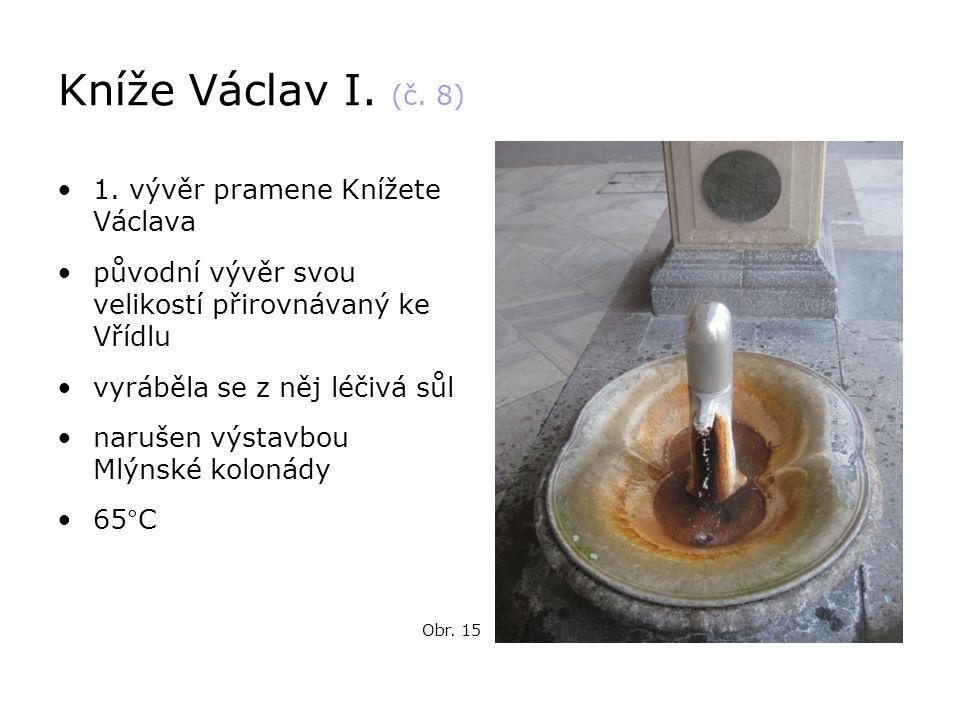Kníže Václav I. (č. 8) •1. vývěr pramene Knížete Václava •původní vývěr svou velikostí přirovnávaný ke Vřídlu •vyráběla se z něj léčivá sůl •narušen v