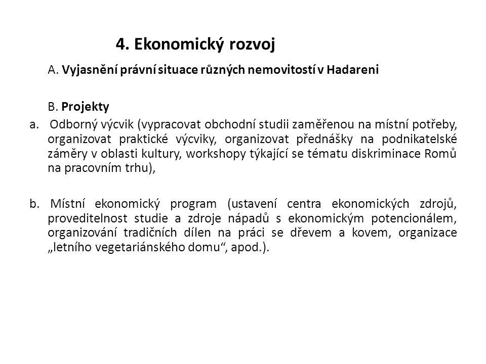 4. Ekonomický rozvoj A. Vyjasnění právní situace různých nemovitostí v Hadareni B. Projekty a. Odborný výcvik (vypracovat obchodní studii zaměřenou na