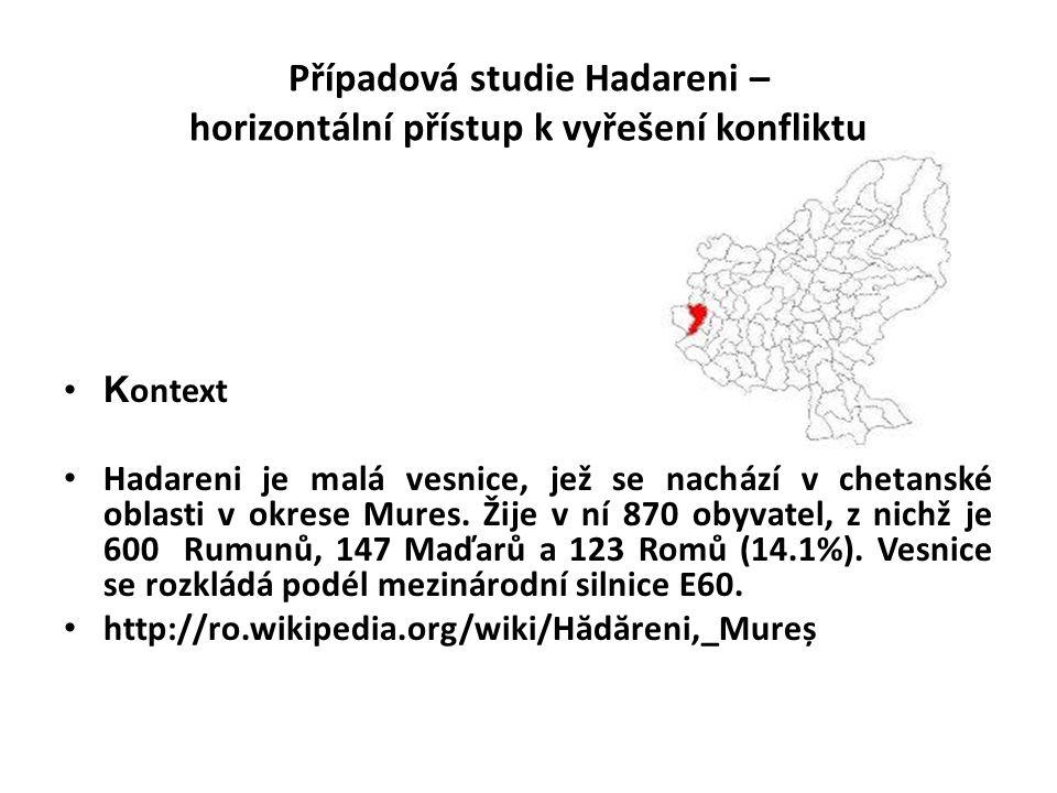 Případová studie Hadareni – horizontální přístup k vyřešení konfliktu •K ontext • Hadareni je malá vesnice, jež se nachází v chetanské oblasti v okrese Mures.
