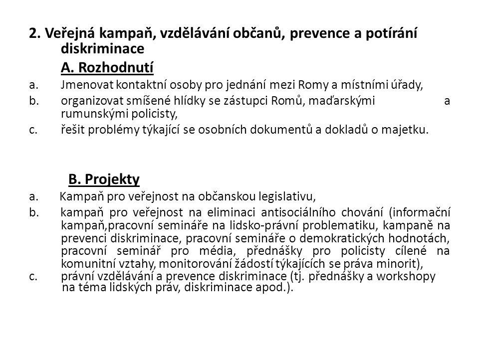 2. Veřejná kampaň, vzdělávání občanů, prevence a potírání diskriminace A. Rozhodnutí a.Jmenovat kontaktní osoby pro jednání mezi Romy a místními úřady