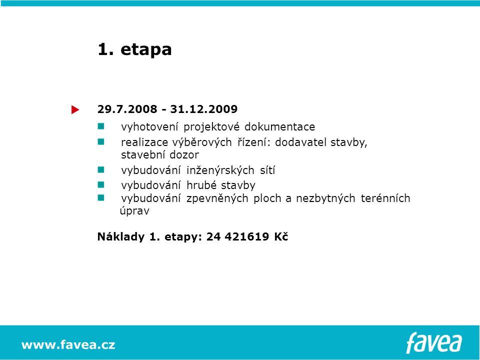 1. etapa 29.7.2008 - 31.12.2009 vyhotovení projektové dokumentace realizace výběrových řízení: dodavatel stavby, stavební dozor vybudování inženýrskýc