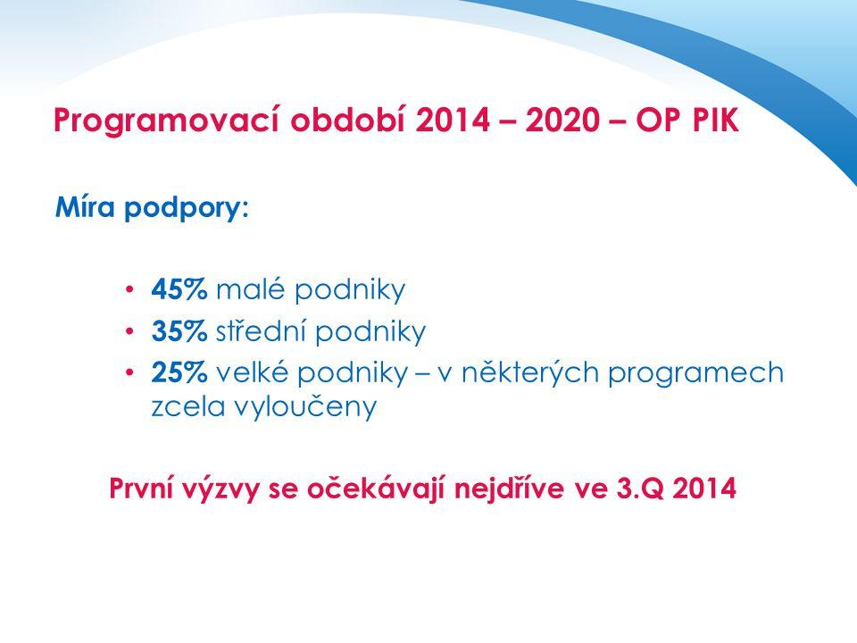 Operační program pro období 2014 - 2020 Míra podpory: • 45% malé podniky • 35% střední podniky • 25% velké podniky – v některých programech zcela vylo
