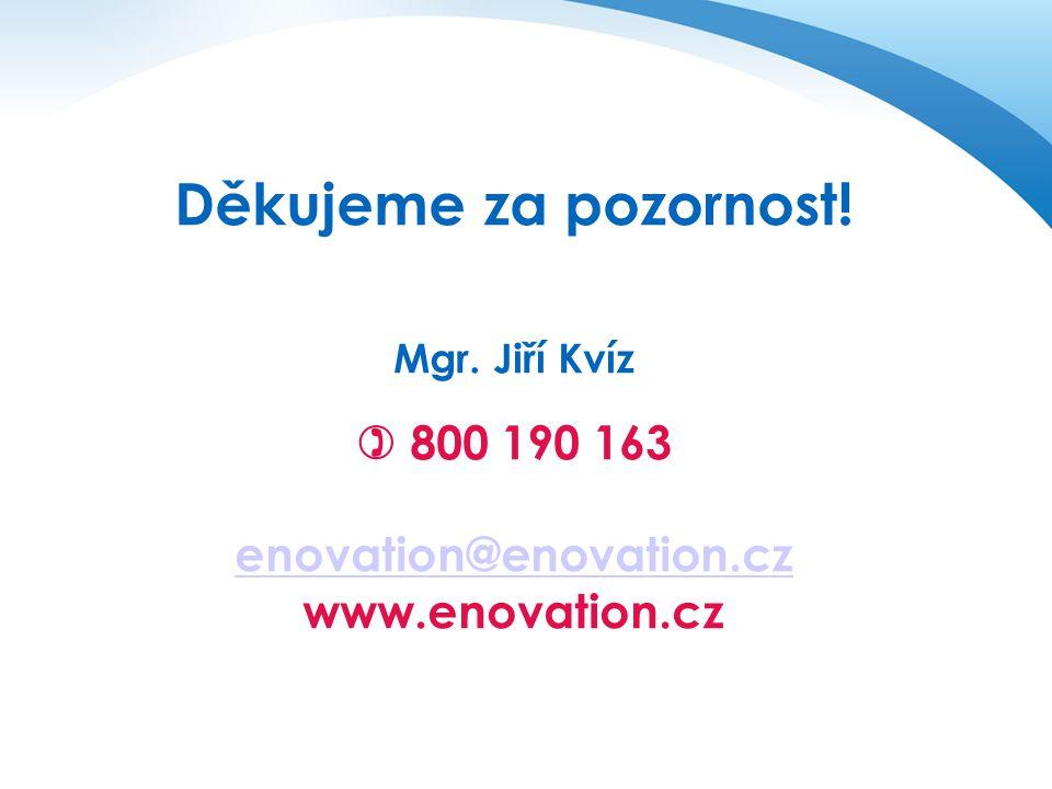 Děkujeme za pozornost! Mgr. Jiří Kvíz  800 190 163 enovation@enovation.cz www.enovation.cz enovation@enovation.cz