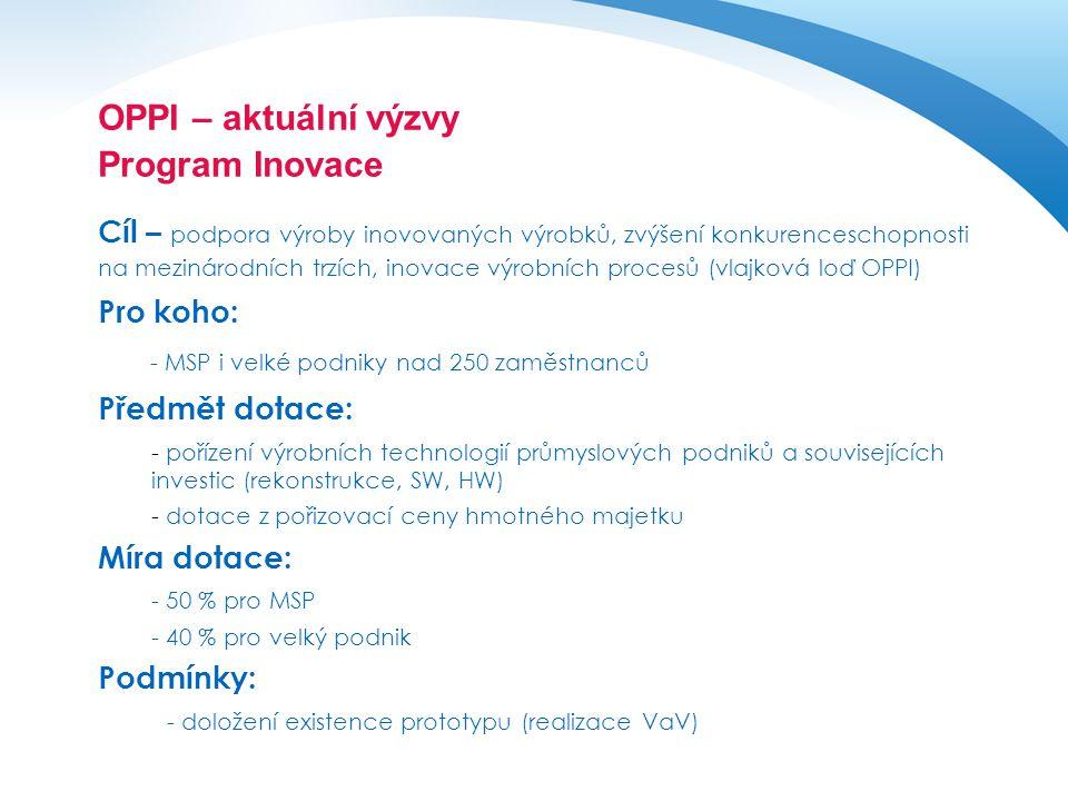 OPPI – aktuální výzvy Program Inovace Cíl – podpora výroby inovovaných výrobků, zvýšení konkurenceschopnosti na mezinárodních trzích, inovace výrobníc