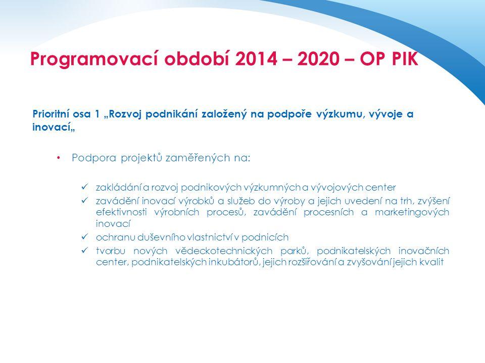 """Operační program pro období 2014 - 2020 Prioritní osa 1 """"Rozvoj podnikání založený na podpoře výzkumu, vývoje a inovací"""" • Podpora projektů zaměřených"""