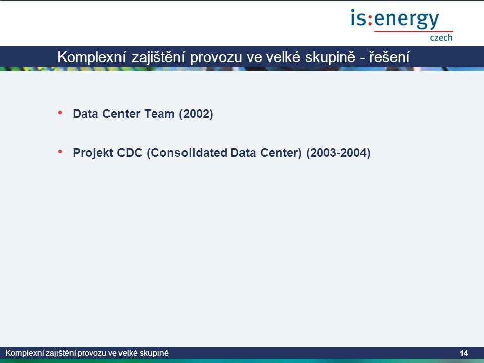 Komplexní zajištění provozu ve velké skupině 14 Komplexní zajištění provozu ve velké skupině - řešení • Data Center Team (2002) • Projekt CDC (Consolidated Data Center) (2003-2004)
