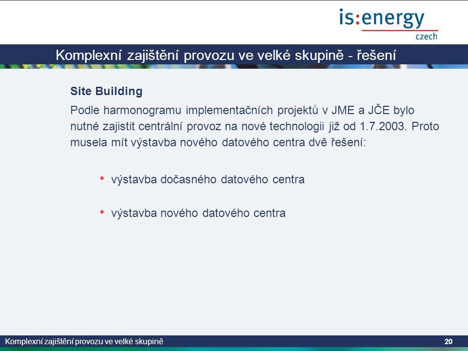Komplexní zajištění provozu ve velké skupině 20 Komplexní zajištění provozu ve velké skupině - řešení Site Building Podle harmonogramu implementačních projektů v JME a JČE bylo nutné zajistit centrální provoz na nové technologii již od 1.7.2003.