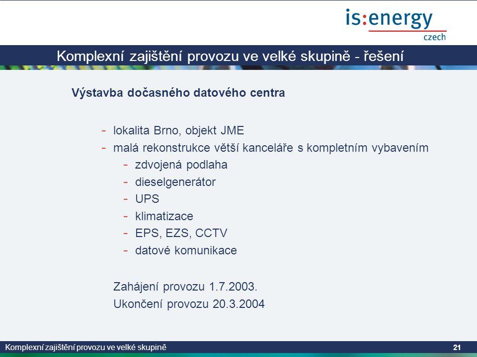 Komplexní zajištění provozu ve velké skupině 21 Komplexní zajištění provozu ve velké skupině - řešení Výstavba dočasného datového centra - lokalita Brno, objekt JME - malá rekonstrukce větší kanceláře s kompletním vybavením - zdvojená podlaha - dieselgenerátor - UPS - klimatizace - EPS, EZS, CCTV - datové komunikace Zahájení provozu 1.7.2003.