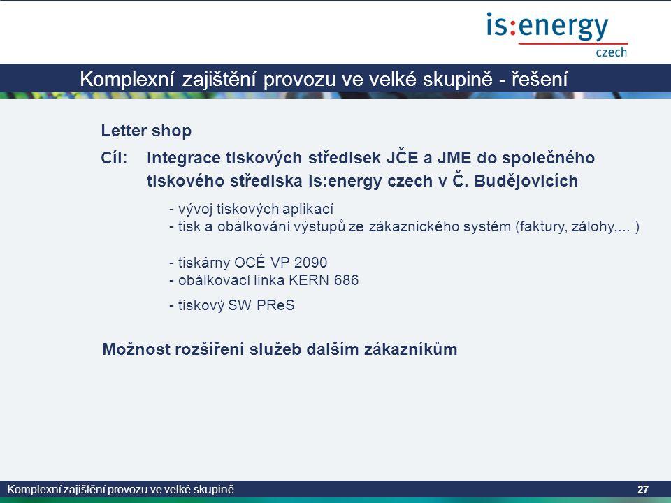 Komplexní zajištění provozu ve velké skupině 27 Komplexní zajištění provozu ve velké skupině - řešení Letter shop Cíl:integrace tiskových středisek JČE a JME do společného tiskového střediska is:energy czech v Č.