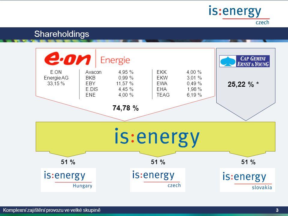 Komplexní zajištění provozu ve velké skupině 3 25,22 % * Gruppe 51 % Shareholdings Avacon 4,95 % BKB 0,99 % EBY 11,57 % E.DIS 4,45 % ENE 4,00 % E.ON Energie AG 33,15 % EKK 4,00 % EKW 3,01 % EWA 0,49 % EHA 1,98 % TEAG 6,19 % 74,78 %