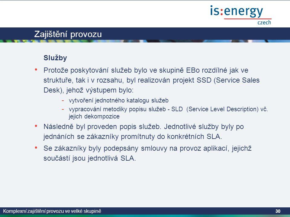 Komplexní zajištění provozu ve velké skupině 30 Zajištění provozu Služby • Protože poskytování služeb bylo ve skupině EBo rozdílné jak ve struktuře, tak i v rozsahu, byl realizován projekt SSD (Service Sales Desk), jehož výstupem bylo: - vytvoření jednotného katalogu služeb - vypracování metodiky popisu služeb - SLD (Service Level Description) vč.