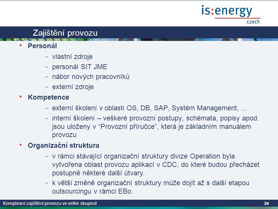 Komplexní zajištění provozu ve velké skupině 34 Zajištění provozu • Personál - vlastní zdroje - personál SIT JME - nábor nových pracovníků - externí zdroje • Kompetence - externí školení v oblasti OS, DB, SAP, Systém Management,...