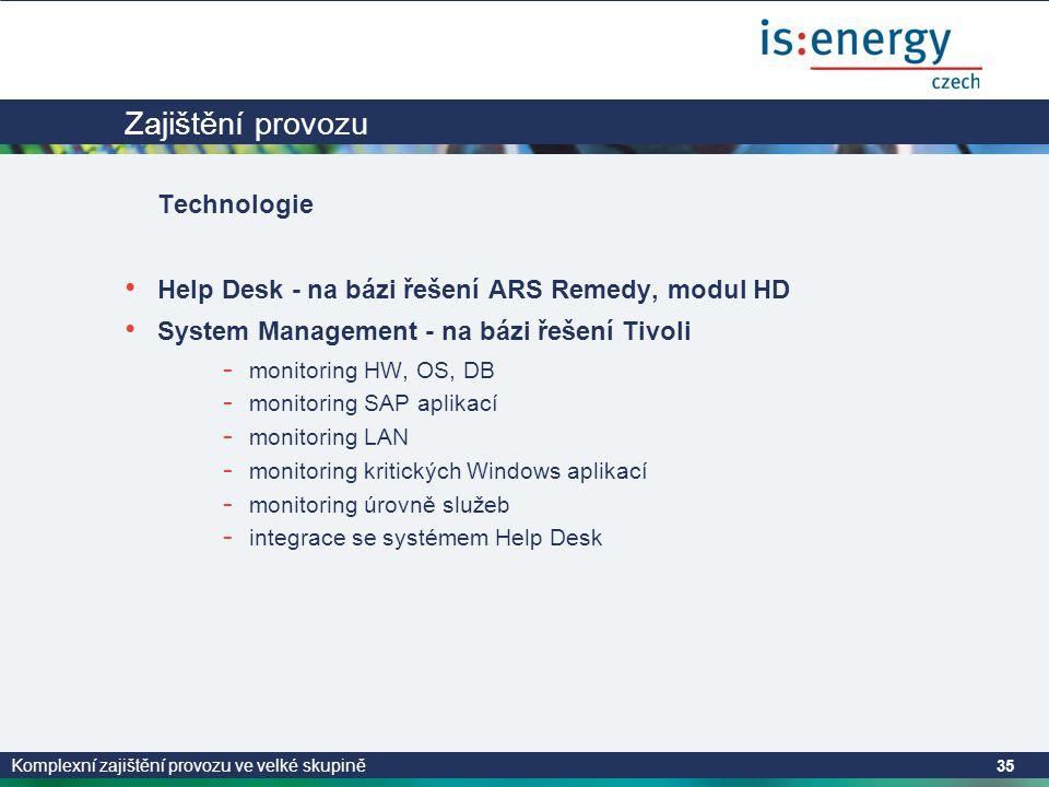 Komplexní zajištění provozu ve velké skupině 35 Zajištění provozu Technologie • Help Desk - na bázi řešení ARS Remedy, modul HD • System Management - na bázi řešení Tivoli - monitoring HW, OS, DB - monitoring SAP aplikací - monitoring LAN - monitoring kritických Windows aplikací - monitoring úrovně služeb - integrace se systémem Help Desk