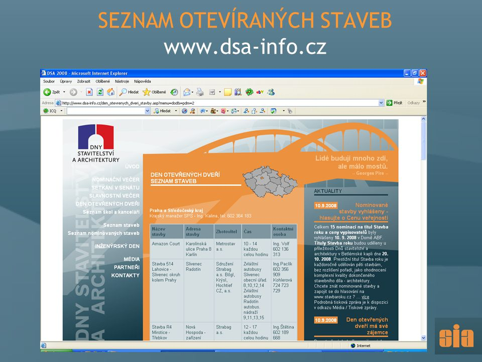 SEZNAM OTEVÍRANÝCH STAVEB www.dsa-info.cz
