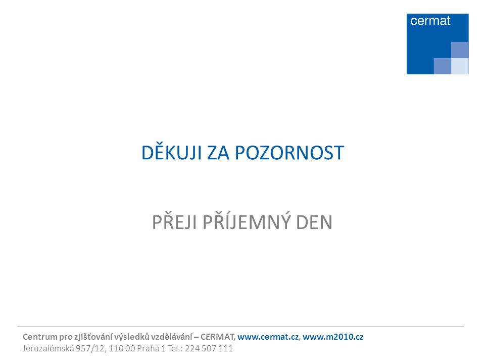 Centrum pro zjišťování výsledků vzdělávání – CERMAT, www.cermat.cz, www.m2010.cz Jeruzalémská 957/12, 110 00 Praha 1 Tel.: 224 507 111 DĚKUJI ZA POZOR