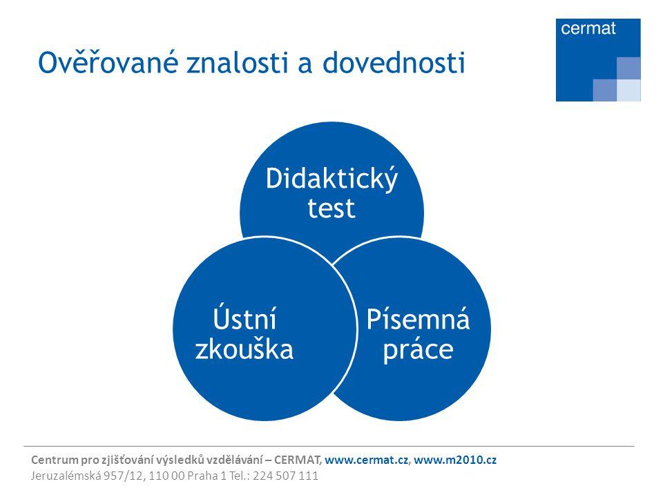 Centrum pro zjišťování výsledků vzdělávání – CERMAT, www.cermat.cz, www.m2010.cz Jeruzalémská 957/12, 110 00 Praha 1 Tel.: 224 507 111 Ověřované znalo