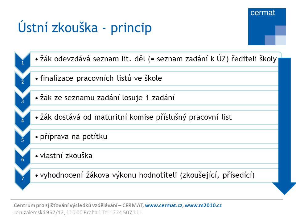 Centrum pro zjišťování výsledků vzdělávání – CERMAT, www.cermat.cz, www.m2010.cz Jeruzalémská 957/12, 110 00 Praha 1 Tel.: 224 507 111 Ústní zkouška -