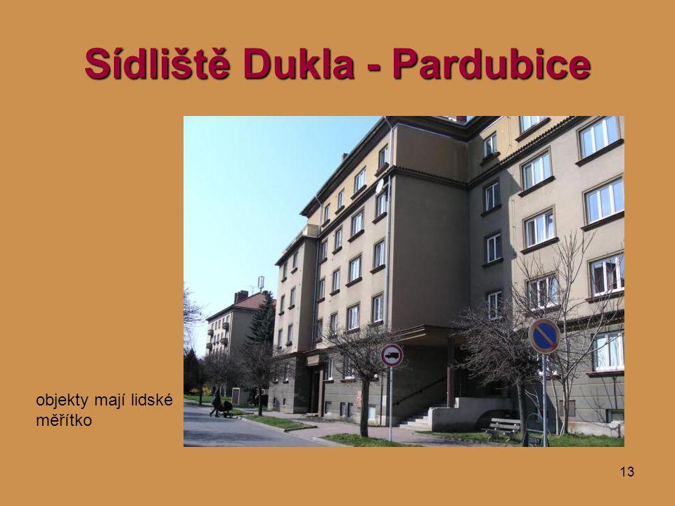 13 Sídliště Dukla - Pardubice objekty mají lidské měřítko