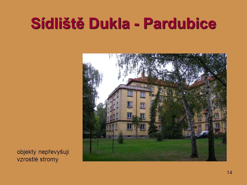 14 Sídliště Dukla - Pardubice objekty nepřevyšuji vzrostlé stromy