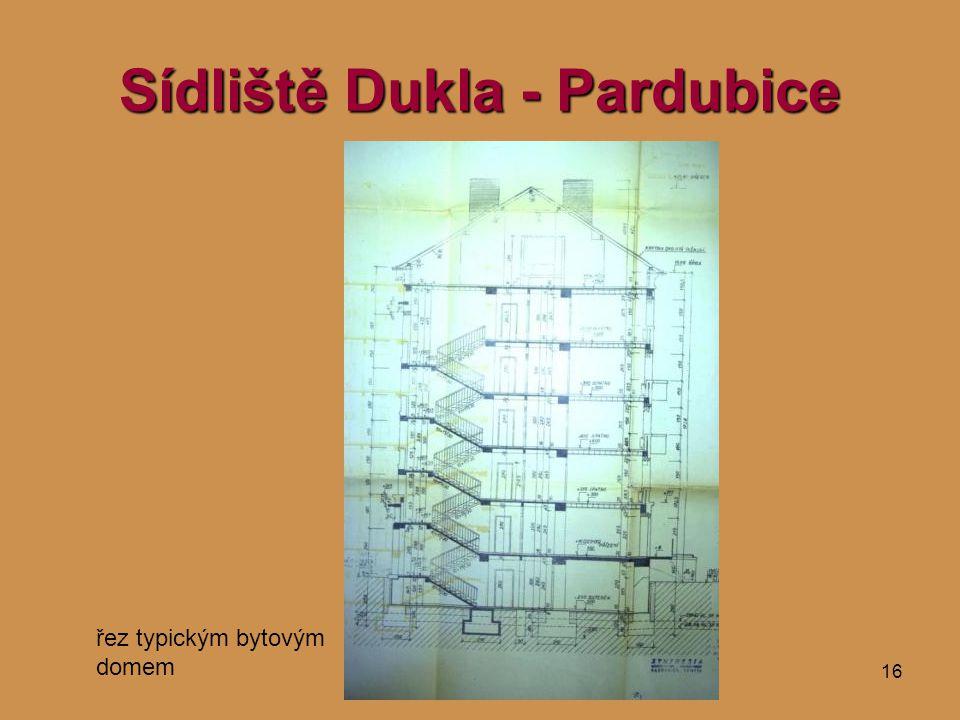16 Sídliště Dukla - Pardubice řez typickým bytovým domem