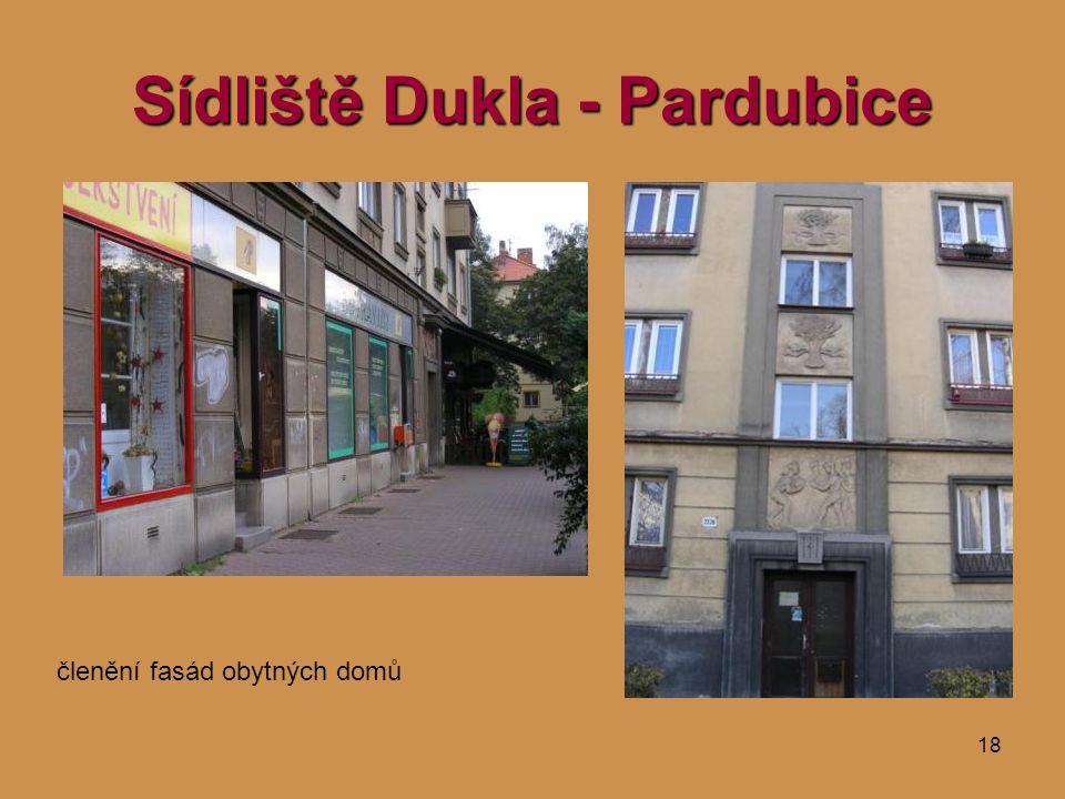 18 Sídliště Dukla - Pardubice členění fasád obytných domů