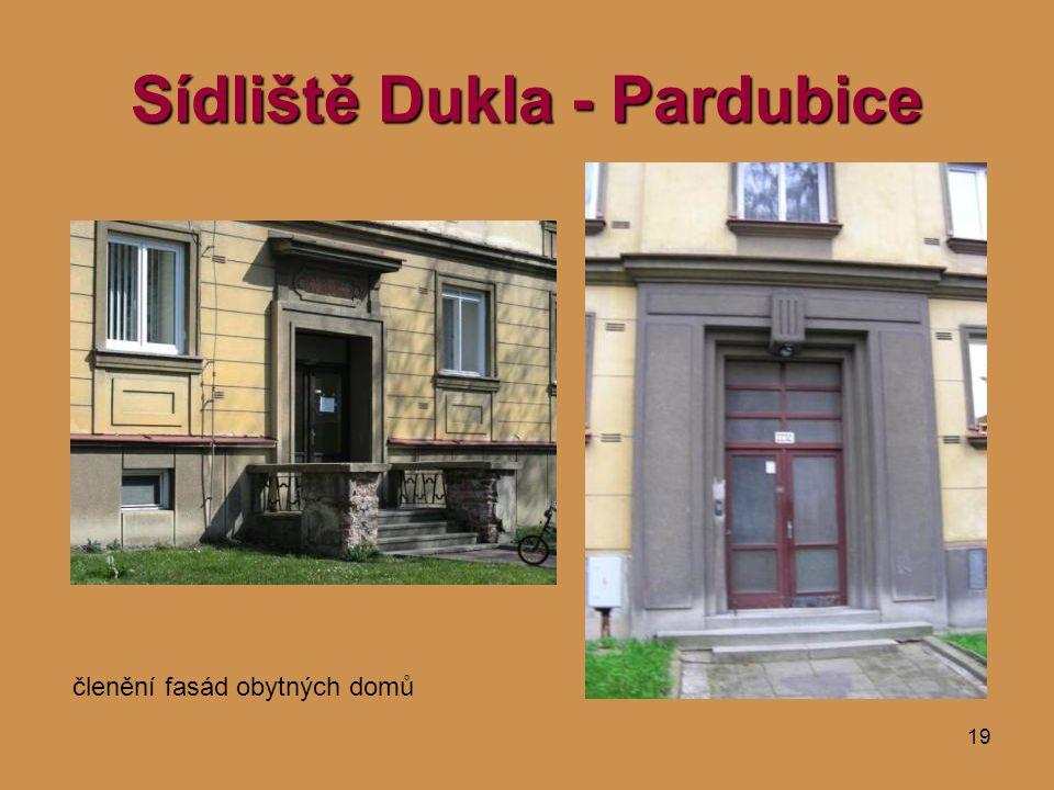19 Sídliště Dukla - Pardubice členění fasád obytných domů