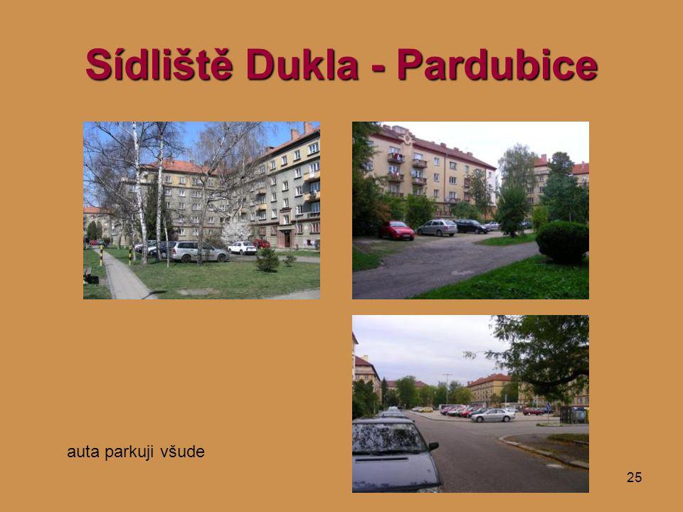25 Sídliště Dukla - Pardubice auta parkuji všude