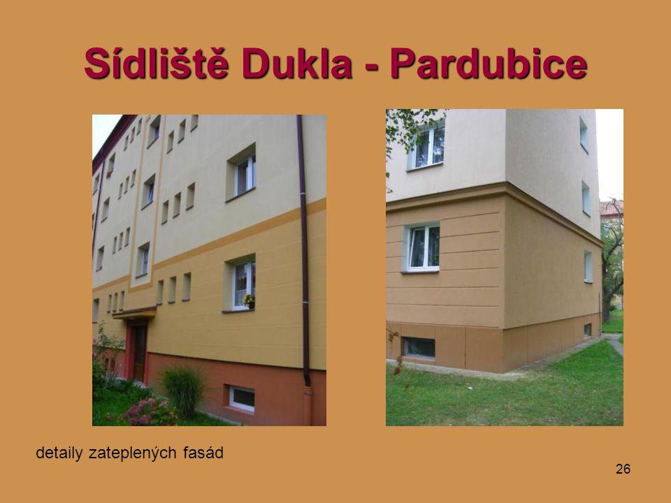 26 Sídliště Dukla - Pardubice detaily zateplených fasád