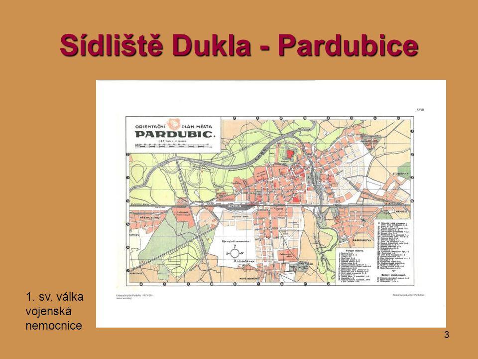3 Sídliště Dukla - Pardubice 1. sv. válka vojenská nemocnice