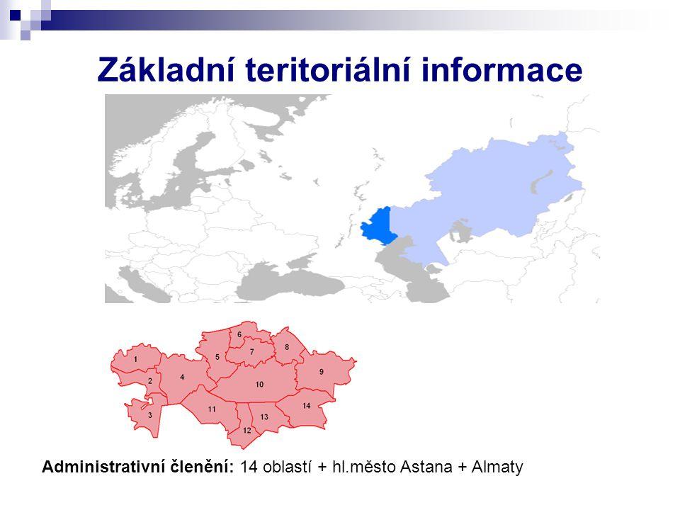 Základní teritoriální informace Administrativní členění: 14 oblastí + hl.město Astana + Almaty