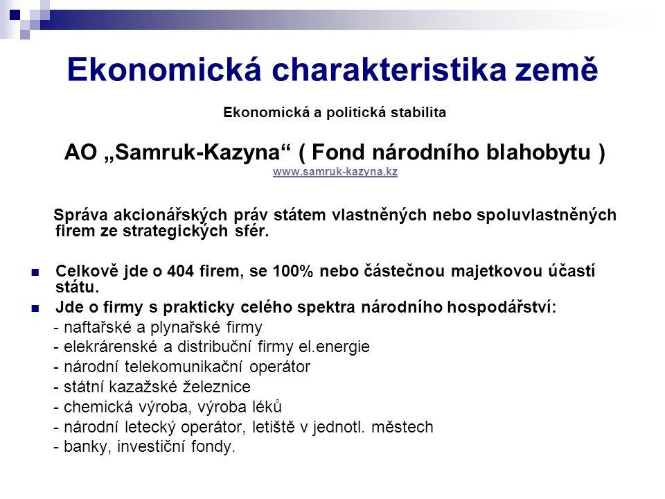 """Ekonomická charakteristika země Ekonomická a politická stabilita AO """"Samruk-Kazyna ( Fond národního blahobytu ) www.samruk-kazyna.kz Správa akcionářských práv státem vlastněných nebo spoluvlastněných firem ze strategických sfér."""