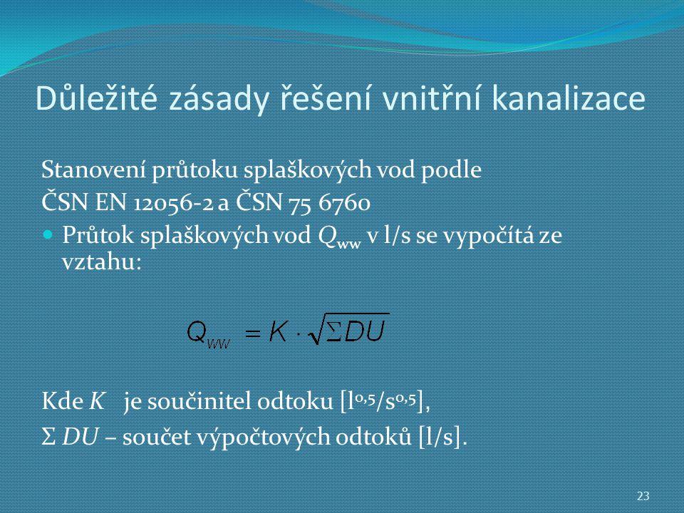 Důležité zásady řešení vnitřní kanalizace Stanovení průtoku splaškových vod podle ČSN EN 12056-2 a ČSN 75 6760  Průtok splaškových vod Q ww v l/s se vypočítá ze vztahu: 23 Kde K je součinitel odtoku [l 0,5 /s 0,5 ], Σ DU – součet výpočtových odtoků [l/s].