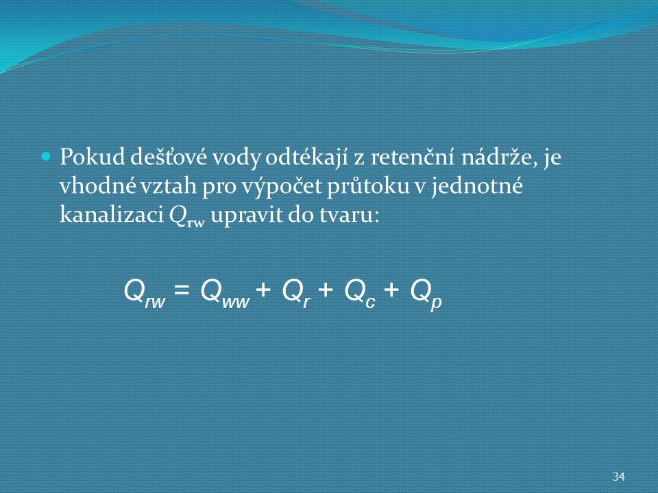  Pokud dešťové vody odtékají z retenční nádrže, je vhodné vztah pro výpočet průtoku v jednotné kanalizaci Q rw upravit do tvaru: 34 Q rw = Q ww + Q r + Q c + Q p