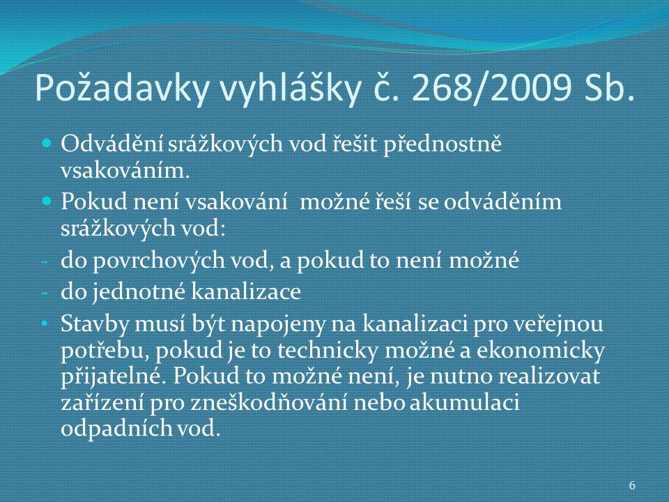 Požadavky vyhlášky č.268/2009 Sb.  Odvádění srážkových vod řešit přednostně vsakováním.
