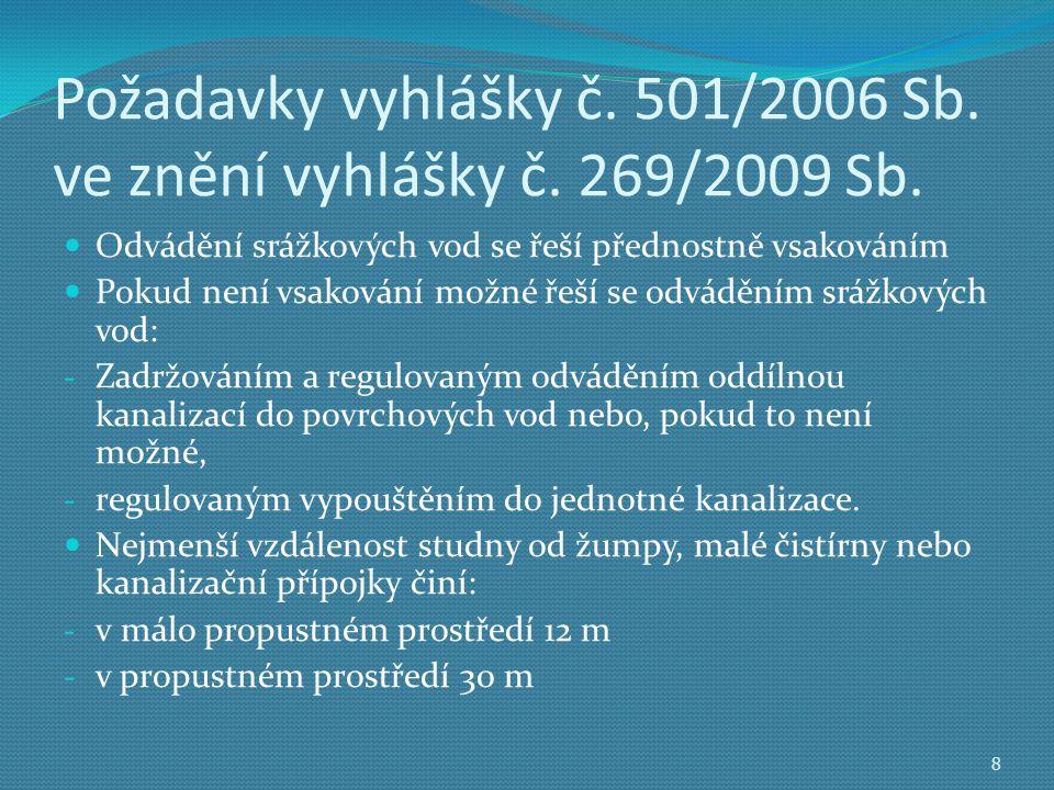 Požadavky vyhlášky č.501/2006 Sb. ve znění vyhlášky č.