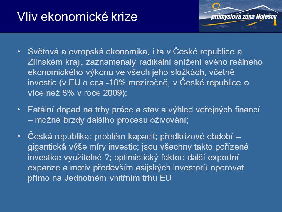 Vliv ekonomické krize •Světová a evropská ekonomika, i ta v České republice a Zlínském kraji, zaznamenaly radikální snížení svého reálného ekonomického výkonu ve všech jeho složkách, včetně investic (v EU o cca -18% meziročně, v České republice o více než 8% v roce 2009); •Fatální dopad na trhy práce a stav a výhled veřejných financí – možné brzdy dalšího procesu oživování; •Česká republika: problém kapacit; předkrizové období – gigantická výše míry investic; jsou všechny takto pořízené investice využitelné ; optimistický faktor: další exportní expanze a motiv především asijských investorů operovat přímo na Jednotném vnitřním trhu EU