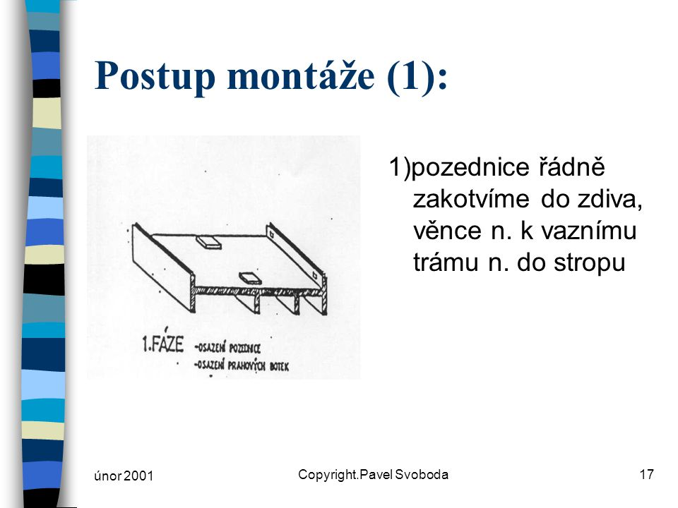 únor 2001 Copyright.Pavel Svoboda17 Postup montáže (1): 1)pozednice řádně zakotvíme do zdiva, věnce n. k vaznímu trámu n. do stropu