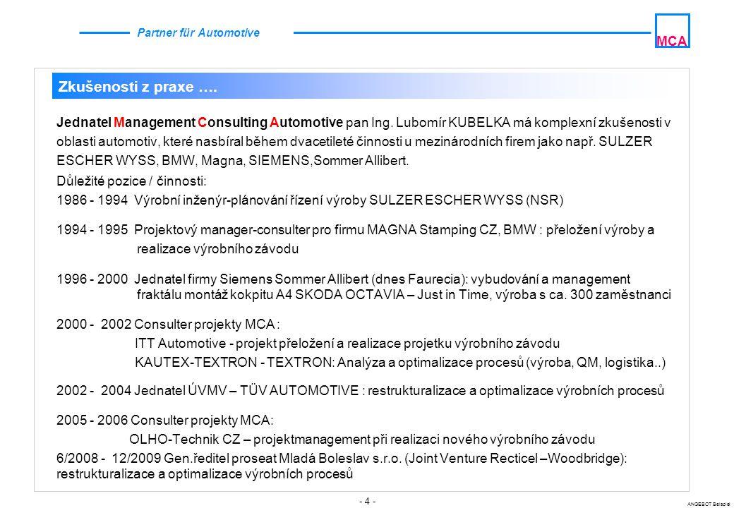 - 4 - ANGEBOT Beispiel MCA Partner für Automotive Jednatel Management Consulting Automotive pan Ing. Lubomír KUBELKA má komplexní zkušenosti v oblasti