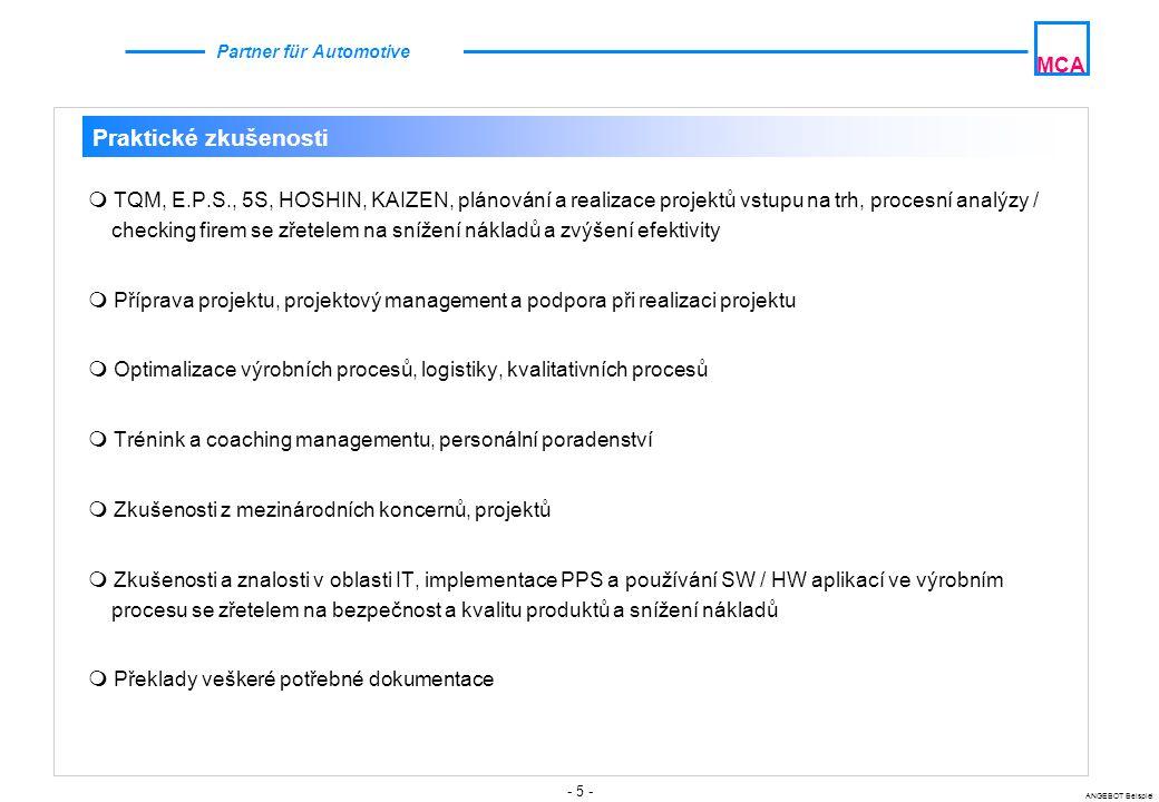 - 6 - ANGEBOT Beispiel MCA Partner für Automotive MCA Orientace na zákazníka Strategická orientace Efektivita vedení Orientace na náklady Orientace na kvalitu Optimalizace procesu Základy konkurenceschopnosti v automobilovém průmyslu