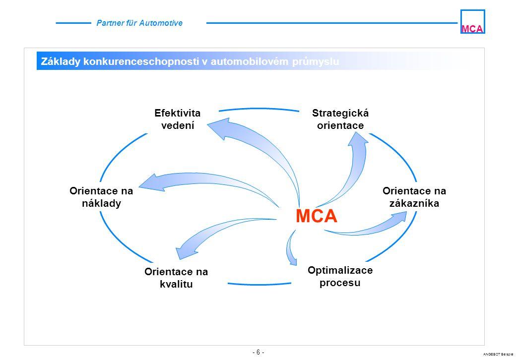 - 7 - ANGEBOT Beispiel MCA Partner für Automotive Ziele  Optimalizované a centralizované splnění úkolů týkajících se oblastí optimálního zajištění řízení celého procesu  Zajištění úspěšné realizace  Kontrola realizace  Feedback-zpětná vazba mezi všemi účastníky procesu ca.
