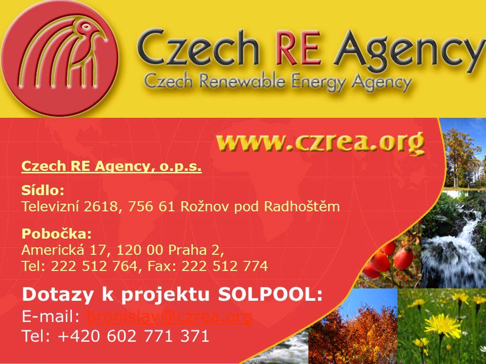 www.solpool.info Folie 13 Czech RE Agency, o.p.s. Sídlo: Televizní 2618, 756 61 Rožnov pod Radhoštěm Pobočka: Americká 17, 120 00 Praha 2, Tel: 222 51