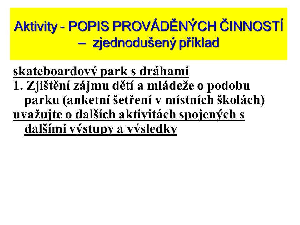 Aktivity - POPIS PROVÁDĚNÝCH ČINNOSTÍ – zjednodušený příklad skateboardový park s dráhami 1.