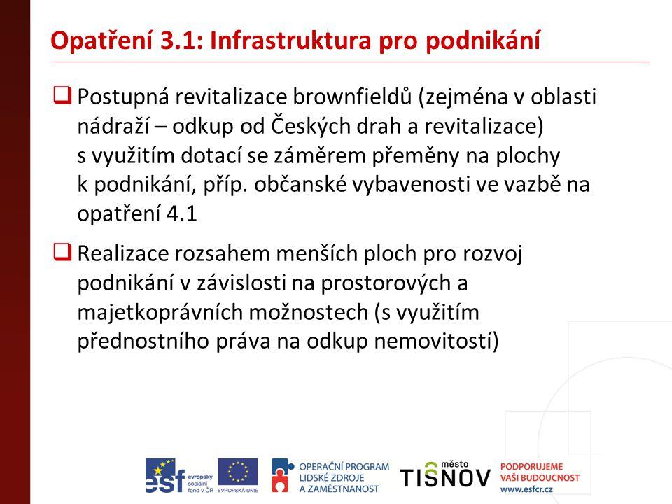 Opatření 3.1: Infrastruktura pro podnikání  Postupná revitalizace brownfieldů (zejména v oblasti nádraží – odkup od Českých drah a revitalizace) s vy