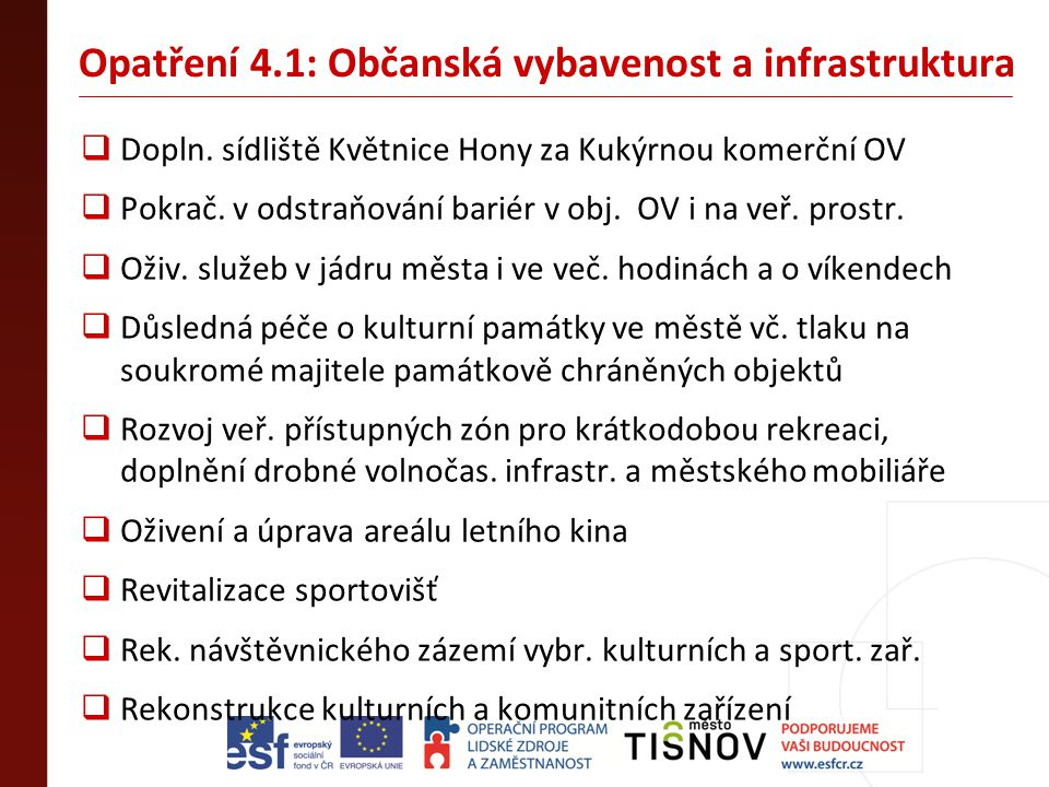 Opatření 4.1: Občanská vybavenost a infrastruktura  Dopln. sídliště Květnice Hony za Kukýrnou komerční OV  Pokrač. v odstraňování bariér v obj. OV i