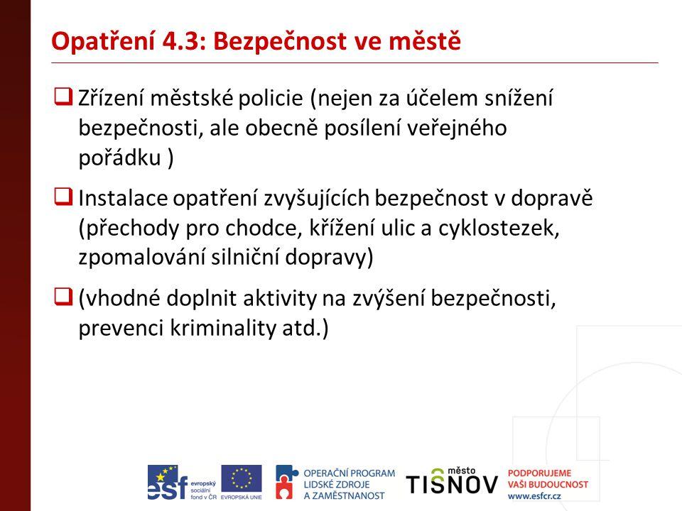 Opatření 4.3: Bezpečnost ve městě  Zřízení městské policie (nejen za účelem snížení bezpečnosti, ale obecně posílení veřejného pořádku )  Instalace