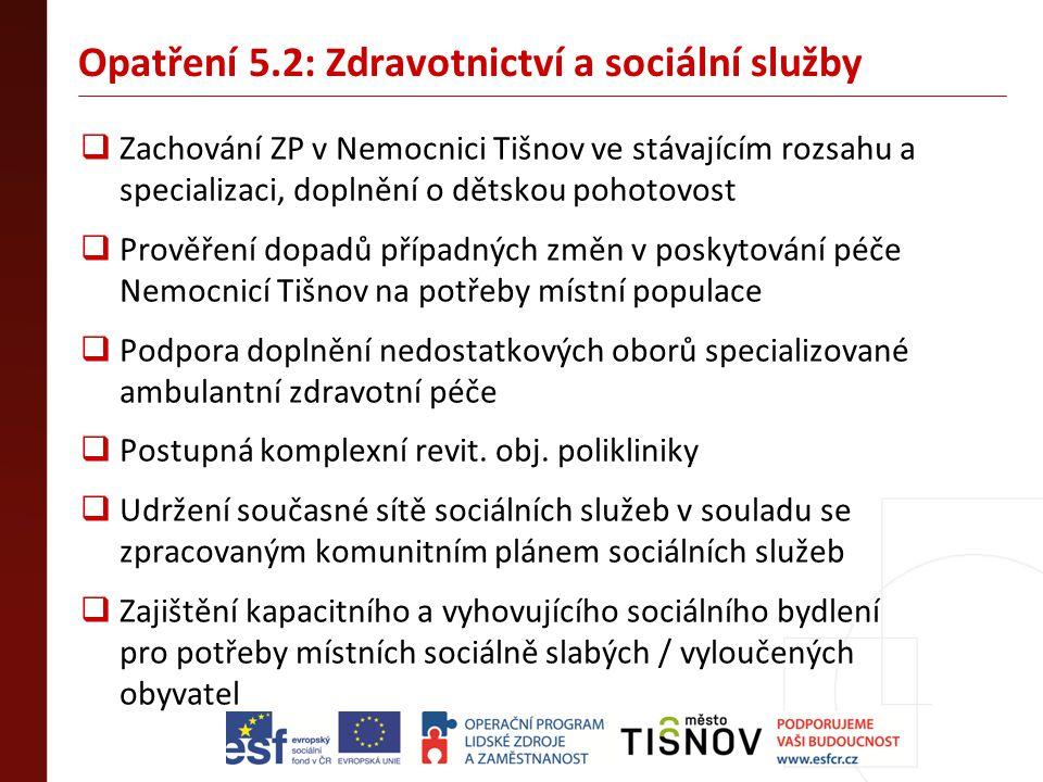 Opatření 5.2: Zdravotnictví a sociální služby  Zachování ZP v Nemocnici Tišnov ve stávajícím rozsahu a specializaci, doplnění o dětskou pohotovost 