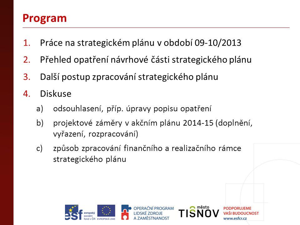 Program 1.Práce na strategickém plánu v období 09-10/2013 2.Přehled opatření návrhové části strategického plánu 3.Další postup zpracování strategickéh